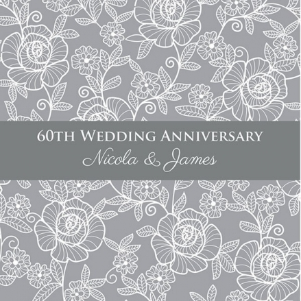 60th Wedding Anniversary Invitations - Rose Pattern