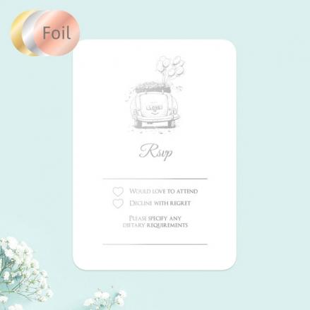 Vintage-Wedding-Car-Foil-Wedding-RSVP-Cards