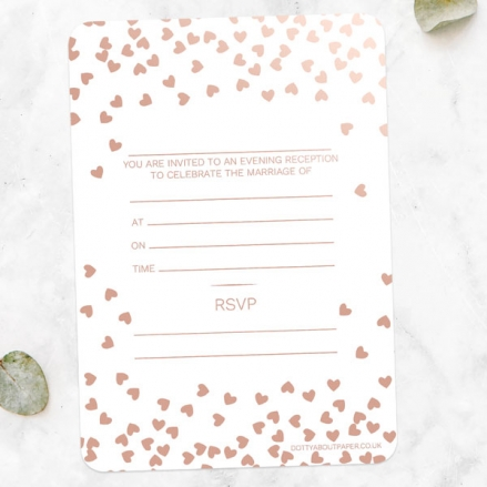 Metallic Hearts - Foil Ready to Write Evening Invitations