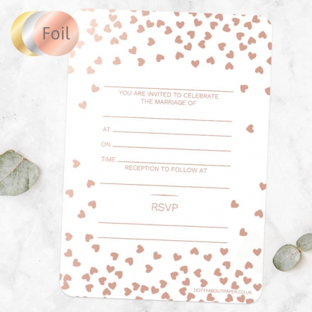 Metallic Hearts - Foil Ready to Write Wedding Invitations