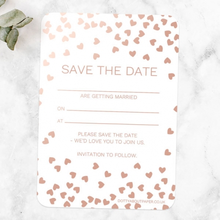 Metallic Hearts - Foil Ready to Write Save the Date Cards
