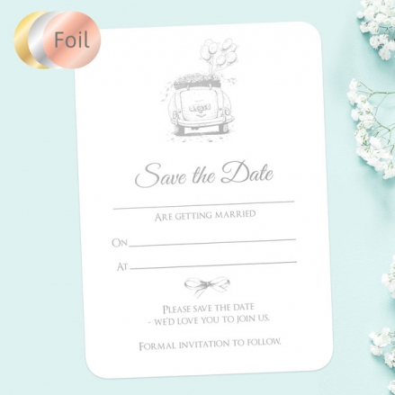 Vintage-Wedding-Car-Foil-Ready-to-Write-Save-the-Date-Cards