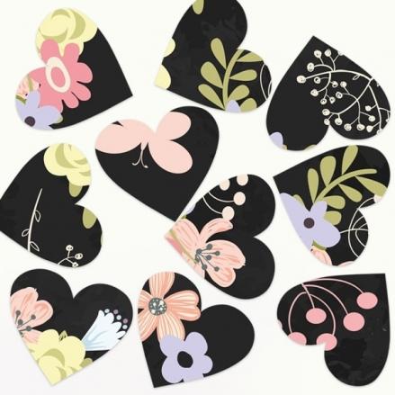 Rustic Chalkboard Flowers - Heart Table Confetti