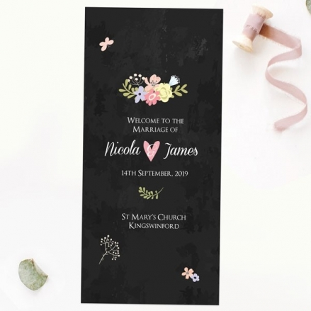 Rustic Chalkboard Flowers - Order of Service Concertina