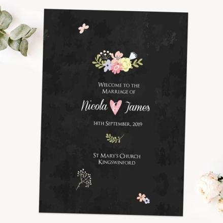 Rustic Chalkboard Flowers - Wedding Order of Service