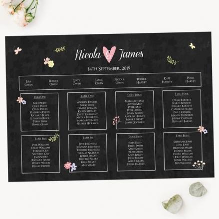 Rustic Chalkboard Flowers - Table Plan