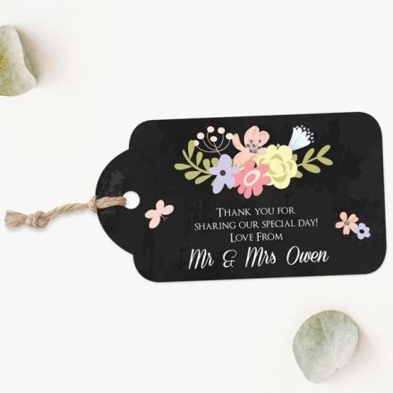 Rustic Chalkboard Flowers - Favour Tags