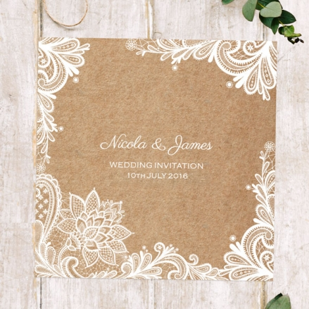 Rustic Lace Pattern - Wedding Invitations