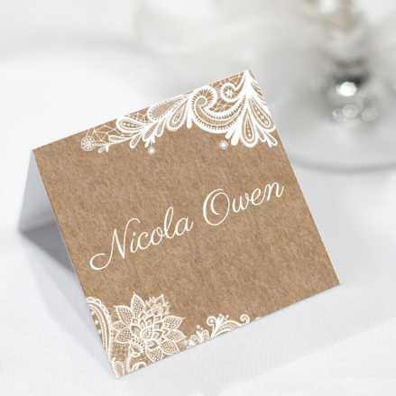 Rustic Lace Pattern - Wedding Place Cards