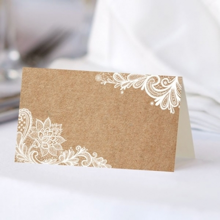 Rustic Lace Pattern - Ready to Write Wedding Place Cards