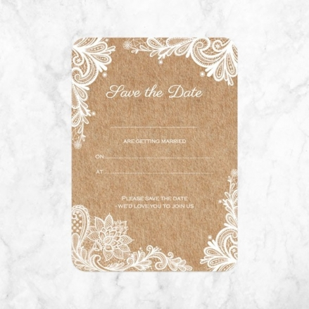 Rustic Lace Pattern - Ready to Write Save the Date Cards