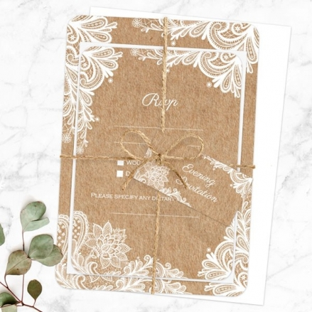Rustic Lace Pattern - Ready to Write Evening Invitations & RSVP