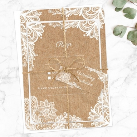 Rustic Lace Pattern - Ready to Write Wedding Invitations & RSVP