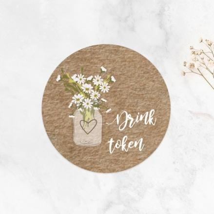 Rustic Mason Jar Flowers - Drink Tokens - Pack of 30