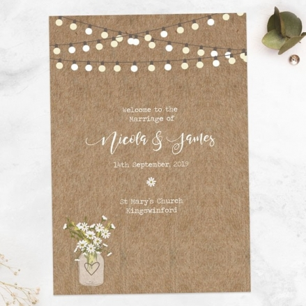 Rustic Mason Jar Flowers - Wedding Order of Service