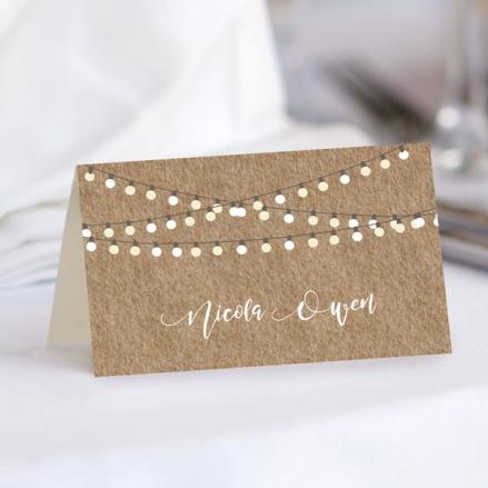 Rustic Mason Jar Flowers - Wedding Place Cards
