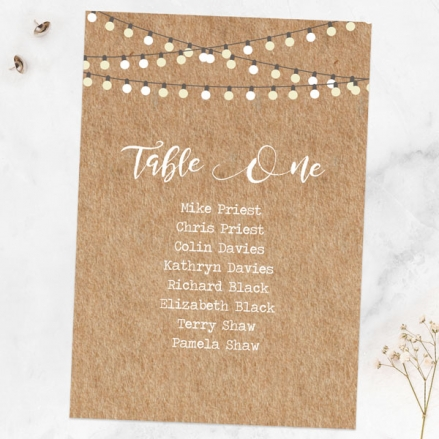 Rustic Mason Jar Flowers - Table Plan Cards