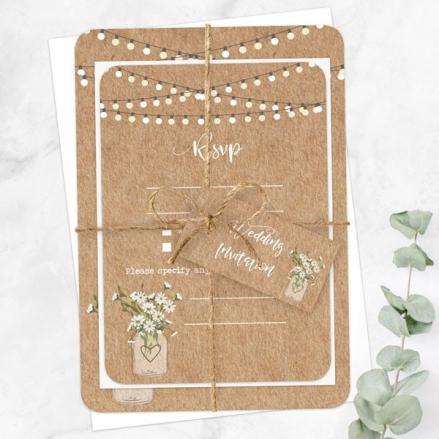 Rustic Mason Jar Flowers - Ready to Write Wedding Invitations & RSVP