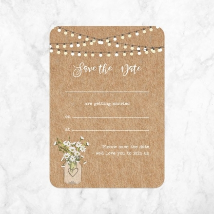 Rustic Mason Jar Flowers - Ready to Write Save the Date Cards
