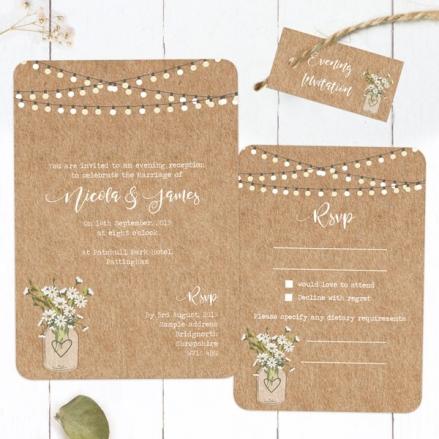 Rustic Mason Jar Flowers - Boutique Evening Invitation & RSVP