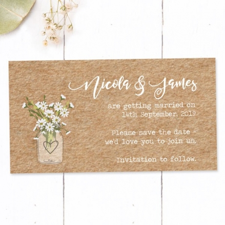 Rustic Mason Jar Flowers - Save the Date Magnets