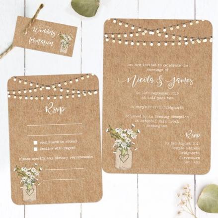 Rustic Mason Jar Flowers - Boutique Wedding Invitation & RSVP
