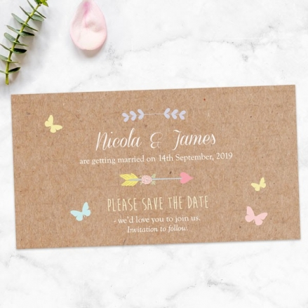 Rustic Pastel Butterflies - Save the Date Magnets