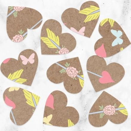 Rustic Pastel Butterflies - Heart Table Confetti