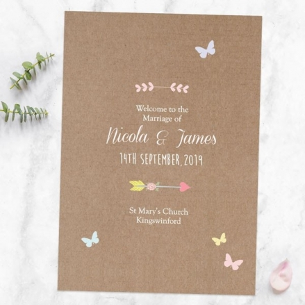 Rustic Pastel Butterflies - Wedding Order of Service
