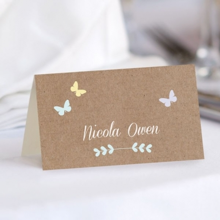 Rustic Pastel Butterflies - Wedding Place Cards