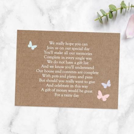 Rustic Pastel Butterflies - Gift Poem Cards