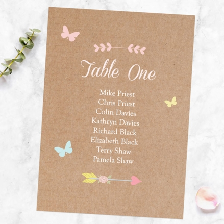 Rustic Pastel Butterflies - Table Plan Cards