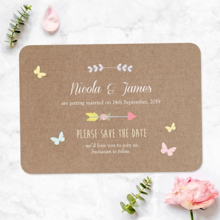 Rustic Pastel Butterflies - Save the Date Cards