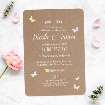 Rustic Pastel Butterflies - Wedding Invitations