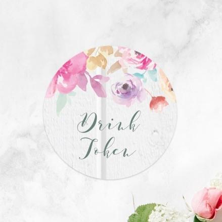 Rustic Pastel Flowers - Drink Tokens - Pack of 30