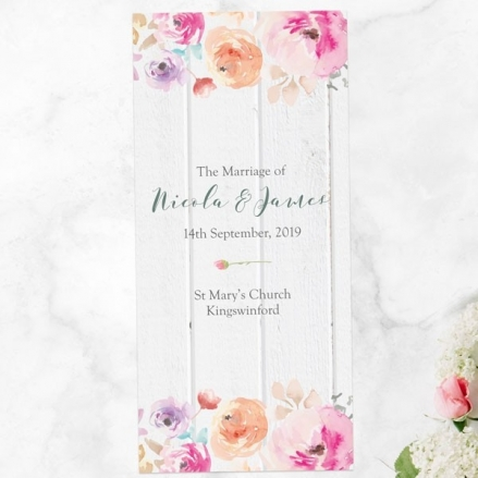 Rustic Pastel Flowers - Order of Service Concertina