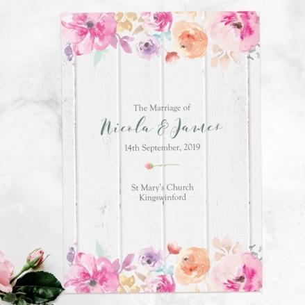 Rustic Pastel Flowers - Wedding Order of Service