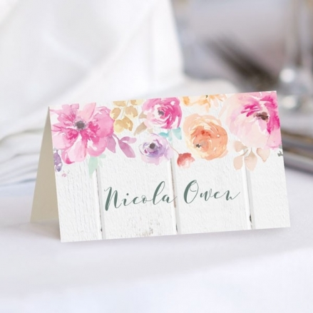 Rustic Pastel Flowers - Wedding Place Cards