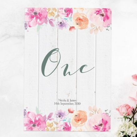 Rustic Pastel Flowers - Table Name/Number