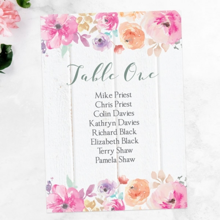 Rustic Pastel Flowers - Table Plan Cards
