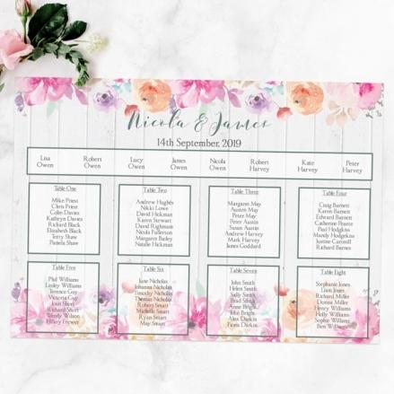 Rustic Pastel Flowers - Table Plan