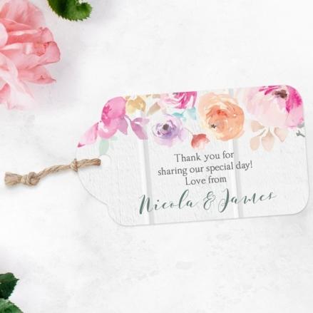 Rustic Pastel Flowers - Favour Tags