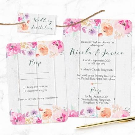 Rustic Pastel Flowers - Boutique Wedding Invitation & RSVP