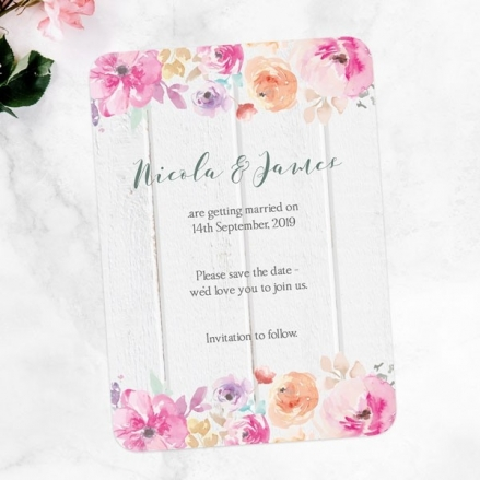 Rustic Pastel Flowers - Save the Date Cards