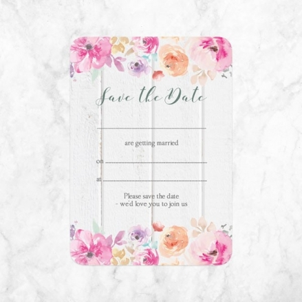 Rustic Pastel Flowers - Ready to Write Save the Date Cards
