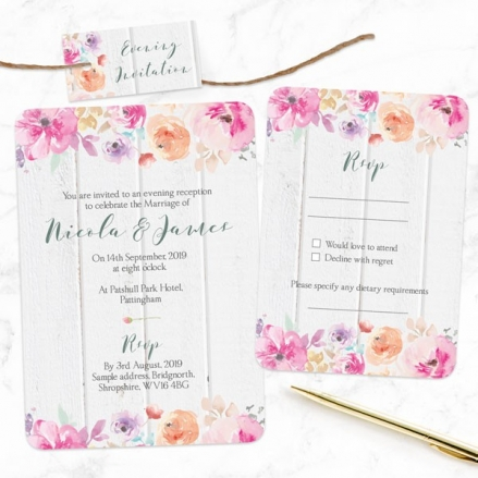 Rustic Pastel Flowers - Boutique Evening Invitation & RSVP