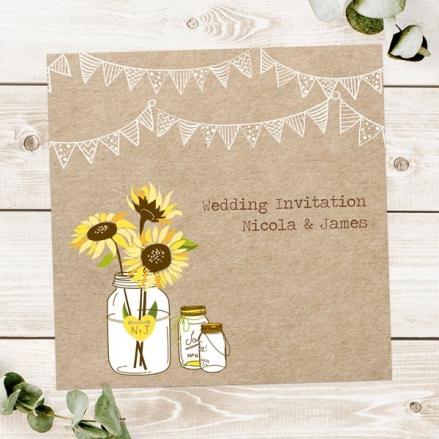 Rustic Sunflowers - Wedding Invitations