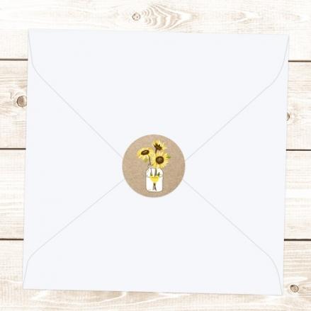 Rustic Sunflowers - Wedding Envelope Seals