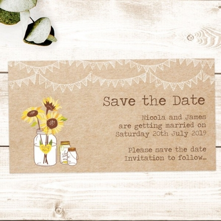 Rustic Sunflowers - Save the Date Magnets