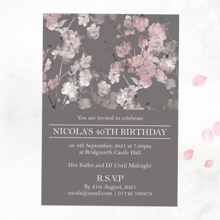 40th Birthday Invitations - Sakura Blossom